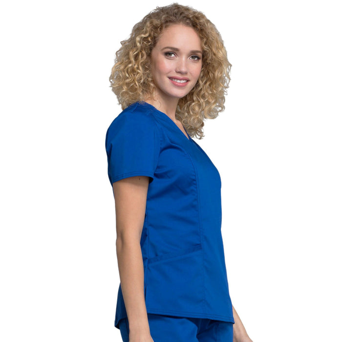 Cherokee Workwear Revolution WW710 Scrubs Top Women's V-Neck Galaxy Blue M