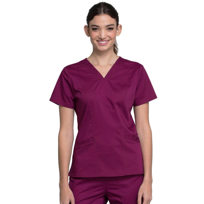 Cherokee Workwear Revolution WW710 Scrubs Top Women's V-Neck Wine