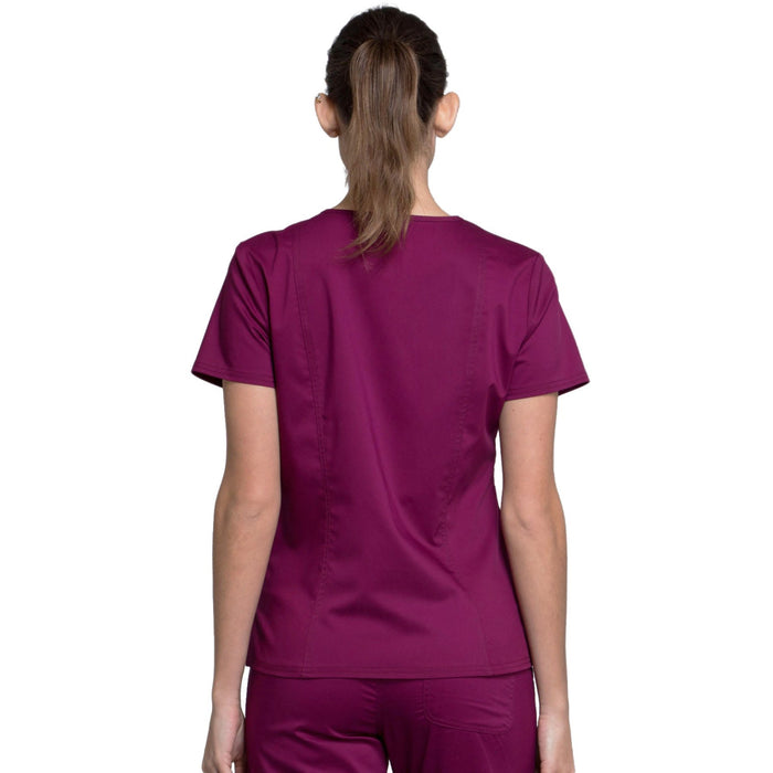 Cherokee Workwear Revolution WW710 Scrubs Top Women's V-Neck Wine 3XL