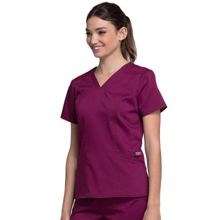 Cherokee Workwear Revolution WW710 Scrubs Top Women's V-Neck Wine L
