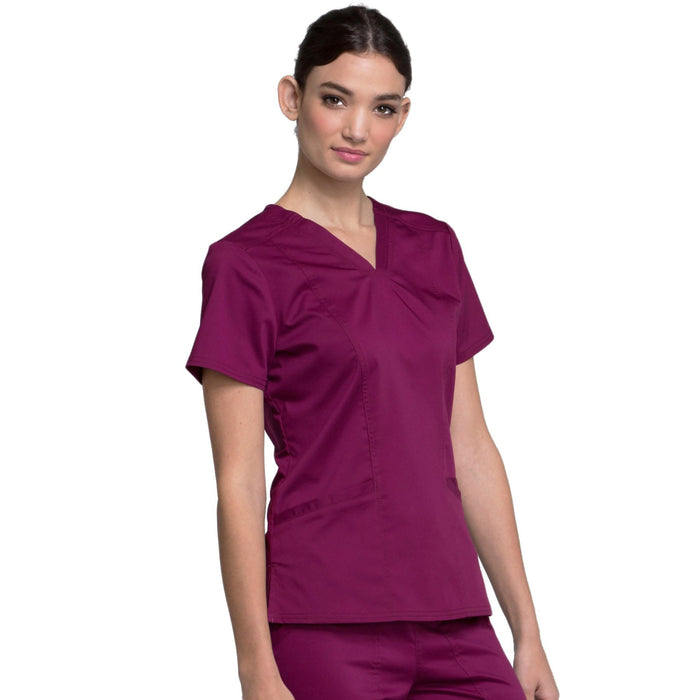Cherokee Workwear Revolution WW710 Scrubs Top Women's V-Neck Wine M