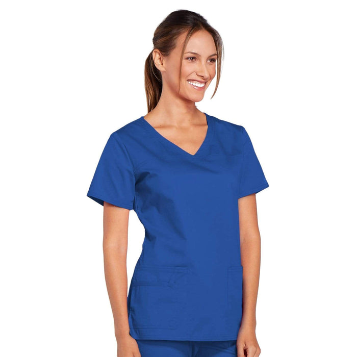 Cherokee Scrubs Top Cherokee Core Stretch 4727 Scrubs Top Women's V-Neck Royal