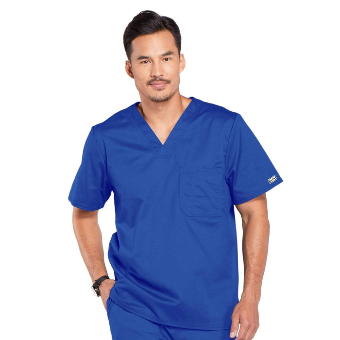 Cherokee Scrubs Top 2XL Cherokee Core Stretch 4743 Scrubs Top Men's V-Neck Royal
