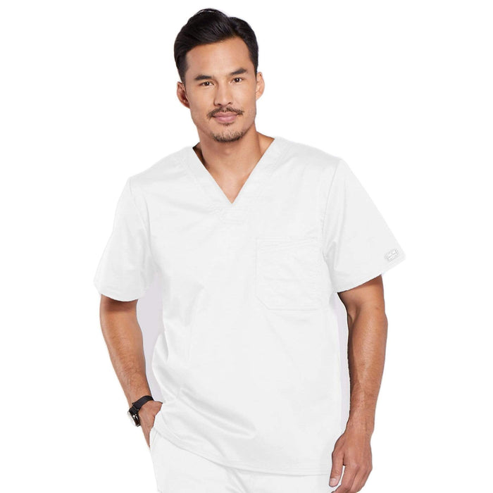 Cherokee Scrubs Top 2XL Cherokee Core Stretch 4743 Scrubs Top Men's V-Neck White