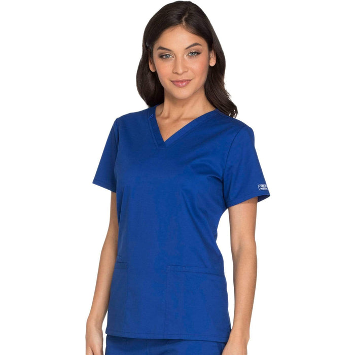 Cherokee Scrubs Top Cherokee Core Stretch WW630 Scrubs Top Women's V-Neck Galaxy Blue