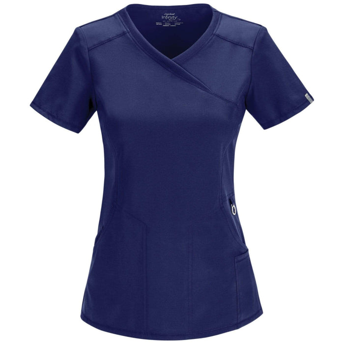 Cherokee Scrubs Top 2XL Cherokee Infinity 2625A Scrubs Top Women's Mock Wrap Navy