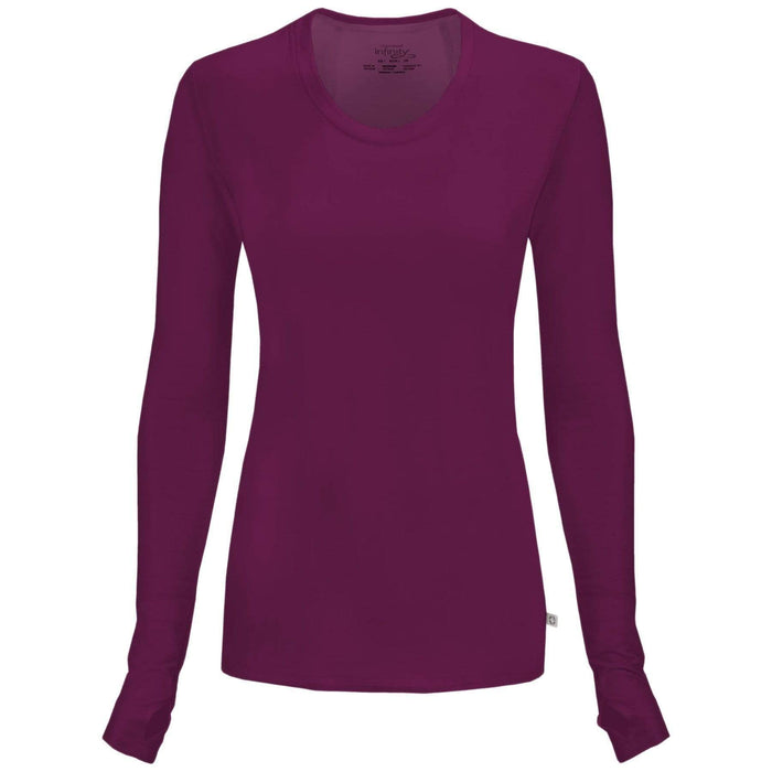 Cherokee Underscrubs 2XL Cherokee Infinity 2626A Underscrubs Women's Long Sleeve Knit Tee Wine