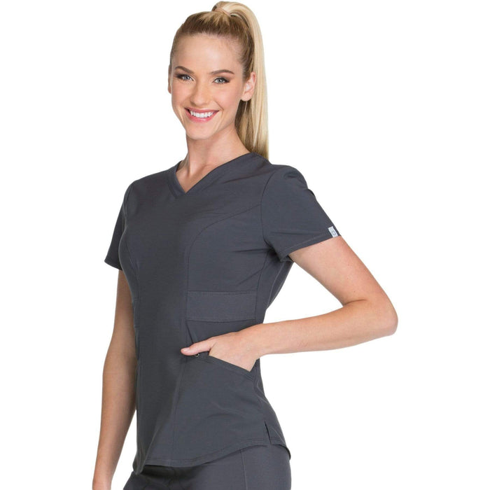 Cherokee Scrubs Top Cherokee Infinity CK623A Scrubs Top Women's V-Neck Pewter