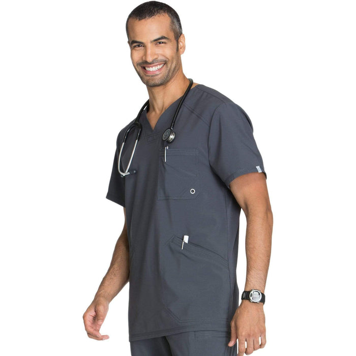 Cherokee Scrubs Top Cherokee Infinity CK900A Scrubs Top Men's V-Neck Pewter