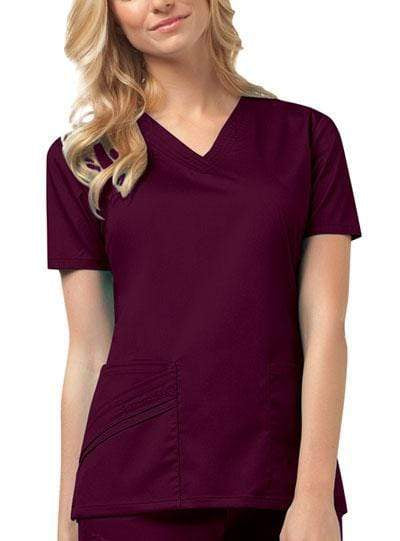 Cherokee Scrubs Top 2XL Cherokee Luxe 1845 Scrubs Top Women's V-Neck Wine