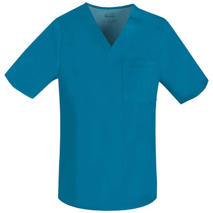 Cherokee Scrubs Top 2XL Cherokee Luxe 1929 Scrubs Top Men's V-Neck Caribbean Blue