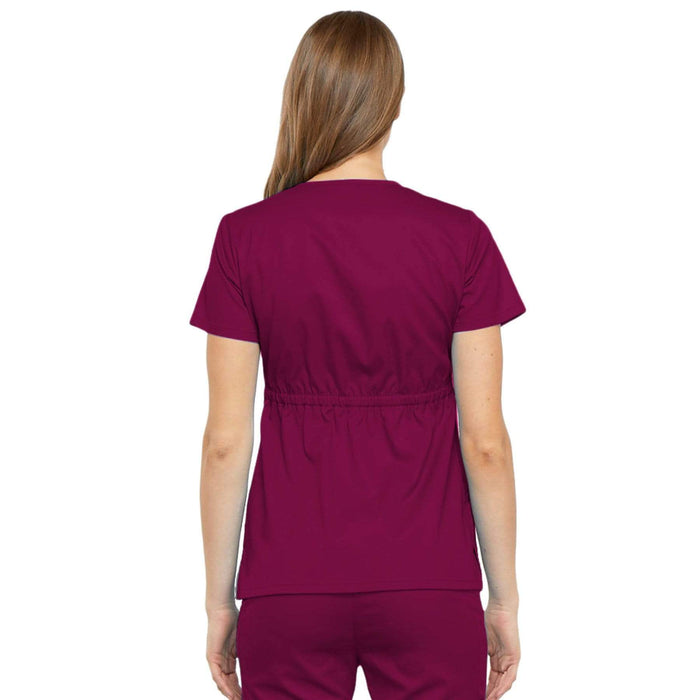 Cherokee Scrubs Top Cherokee Luxe 21701 Scrubs Top Women's Empire Waist Mock Wrap Wine