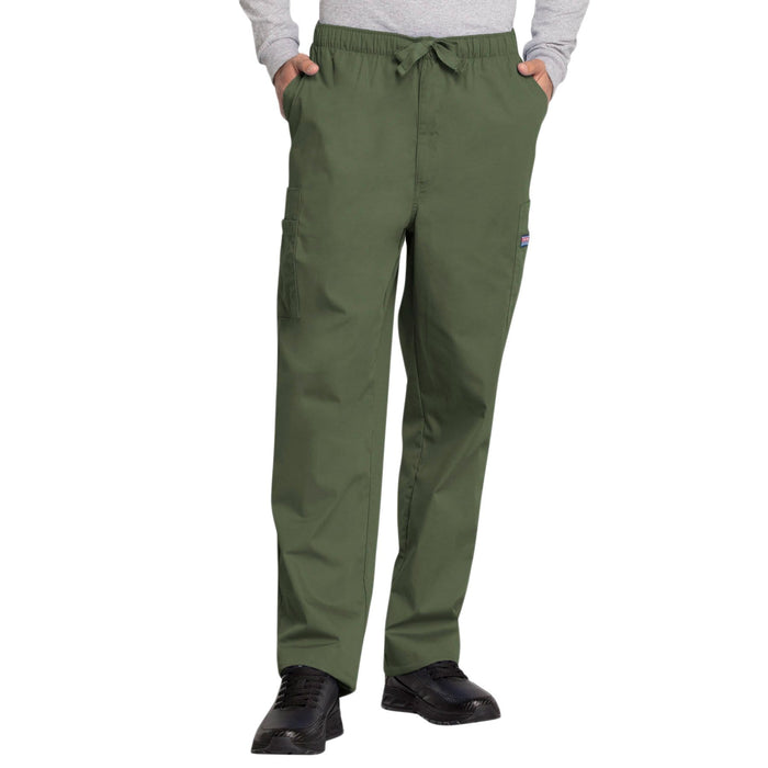 Cherokee Scrubs Pants Cherokee Workwear 4000 Scrubs Pants Men's Drawstring Cargo Olive