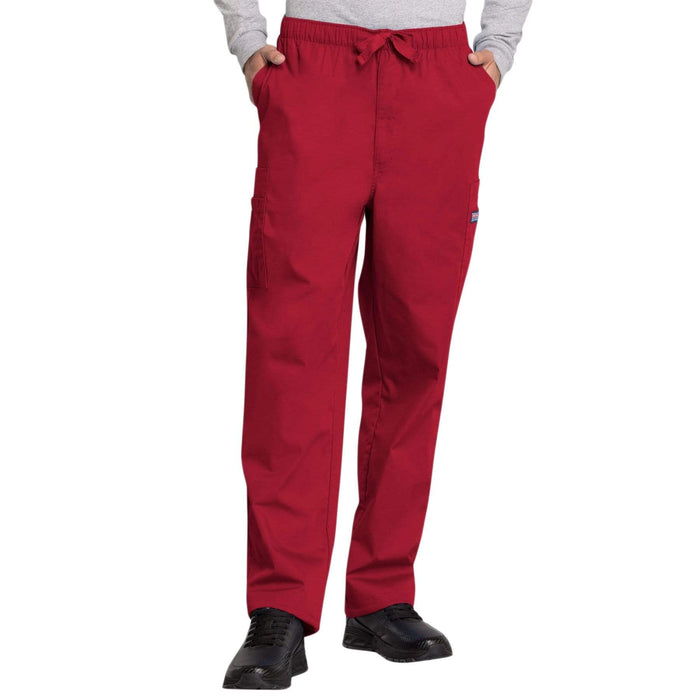 Cherokee Scrubs Pants Cherokee Workwear 4000 Scrubs Pants Men's Drawstring Cargo Red