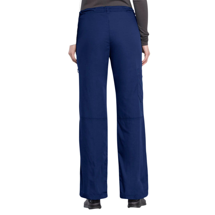 Cherokee Scrubs Pants Cherokee Workwear 4020 Scrubs Pants Women's Low Rise Drawstring Cargo Navy