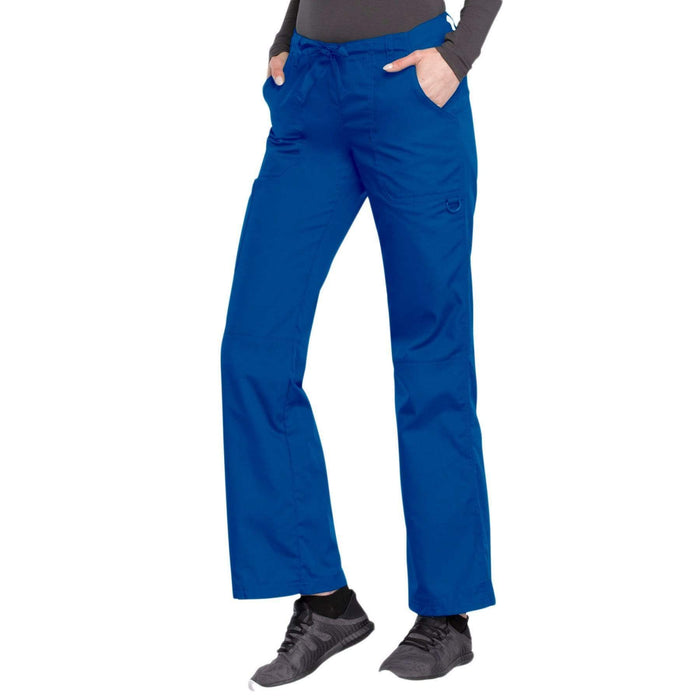 Cherokee Scrubs Pants Cherokee Workwear 4020 Scrubs Pants Women's Low Rise Drawstring Cargo Royal