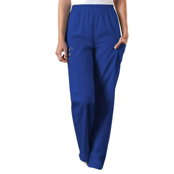 Cherokee Scrubs Pants 2XL / Regular Length Cherokee Workwear 4200 Scrubs Pants Women's Natural Rise Tapered Pull-On Cargo Galaxy Blue