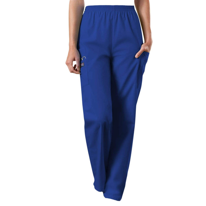 Cherokee Scrubs Pants Cherokee Workwear 4200 Scrubs Pants Women's Natural Rise Tapered Pull-On Cargo Galaxy Blue
