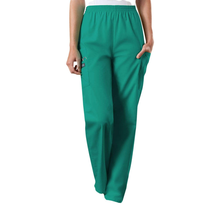 Cherokee Scrubs Pants Cherokee Workwear 4200 Scrubs Pants Women's Natural Rise Tapered Pull-On Cargo Surgical Green