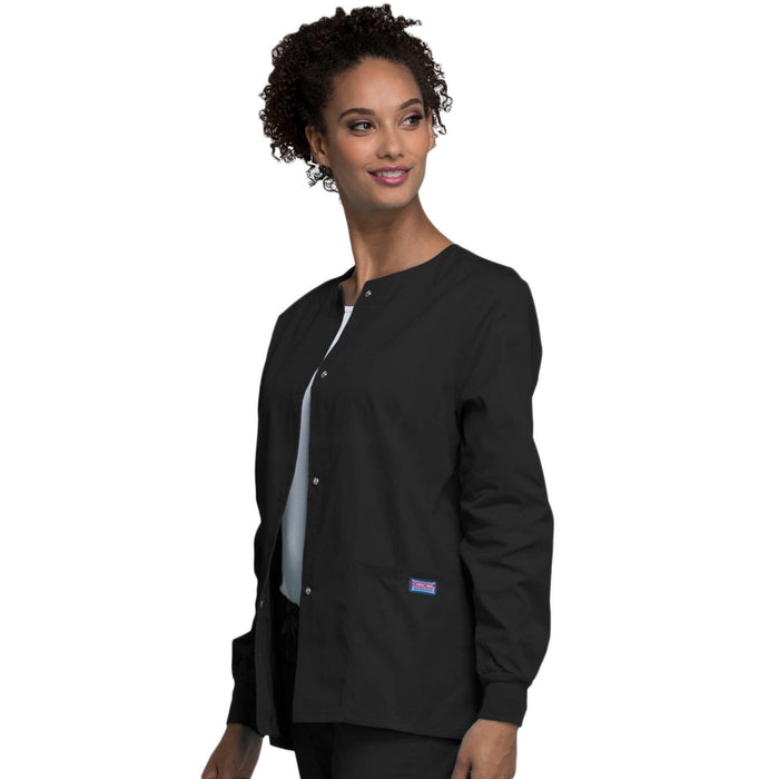 Cherokee Scrubs Jacket Cherokee Workwear 4350 Scrubs Jacket Women's Snap Front Warm-Up Black