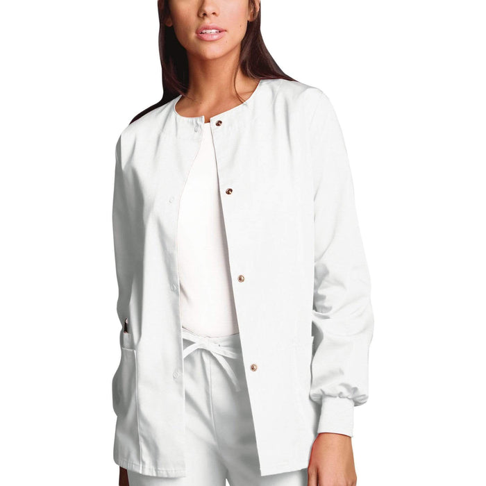 Cherokee Scrubs Jacket 2XL Cherokee Workwear 4350 Scrubs Jacket Women's Snap Front Warm-Up White