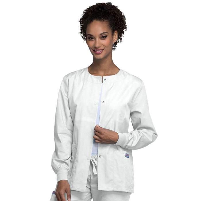 Cherokee Scrubs Jacket Cherokee Workwear 4350 Scrubs Jacket Women's Snap Front Warm-Up White