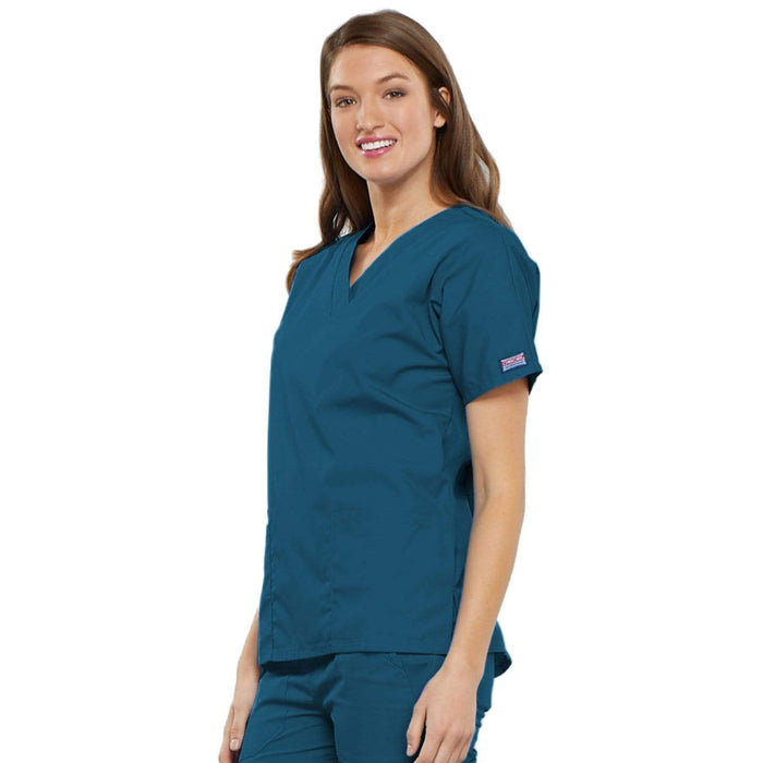 Cherokee Scrubs Top Cherokee Workwear 4700 Scrubs Top Women's V-Neck Caribbean Blue