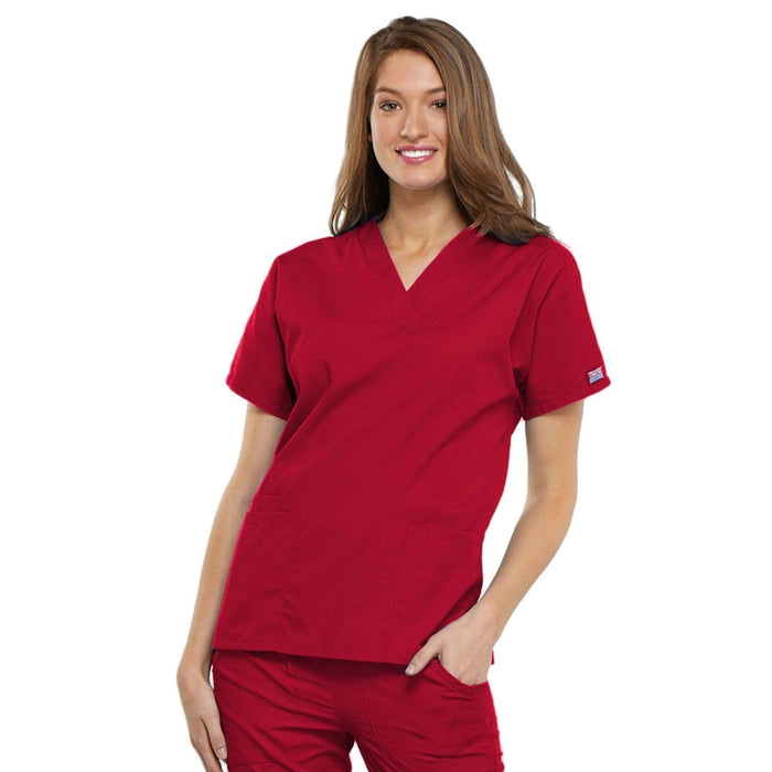 Cherokee Scrubs Top 2XL Cherokee Workwear 4700 Scrubs Top Women's V-Neck Red