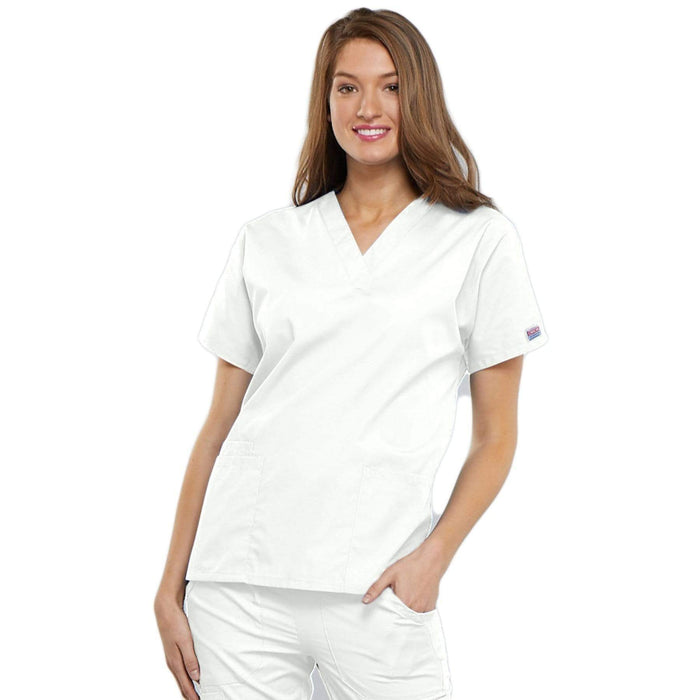 Cherokee Scrubs Top 2XL Cherokee Workwear 4700 Scrubs Top Women's V-Neck White