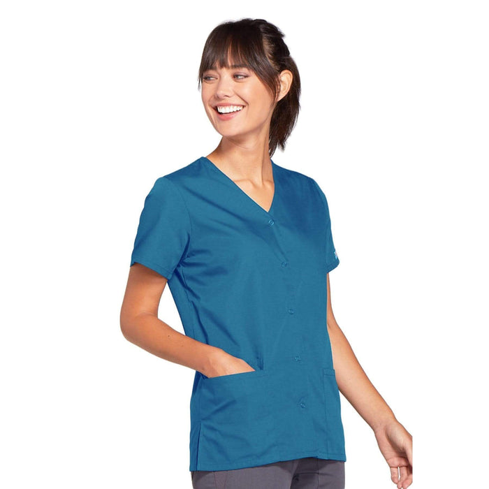 Cherokee Scrubs Top Cherokee Workwear 4770 Scrubs Top Women's Snap Front V-Neck Caribbean Blue