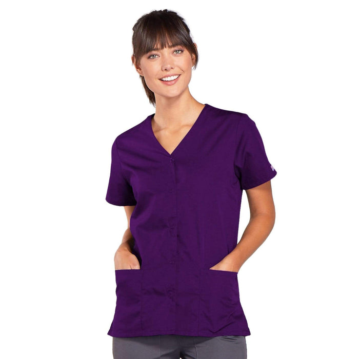 Cherokee Scrubs Top 2XL Cherokee Workwear 4770 Scrubs Top Women's Snap Front V-Neck Eggplant