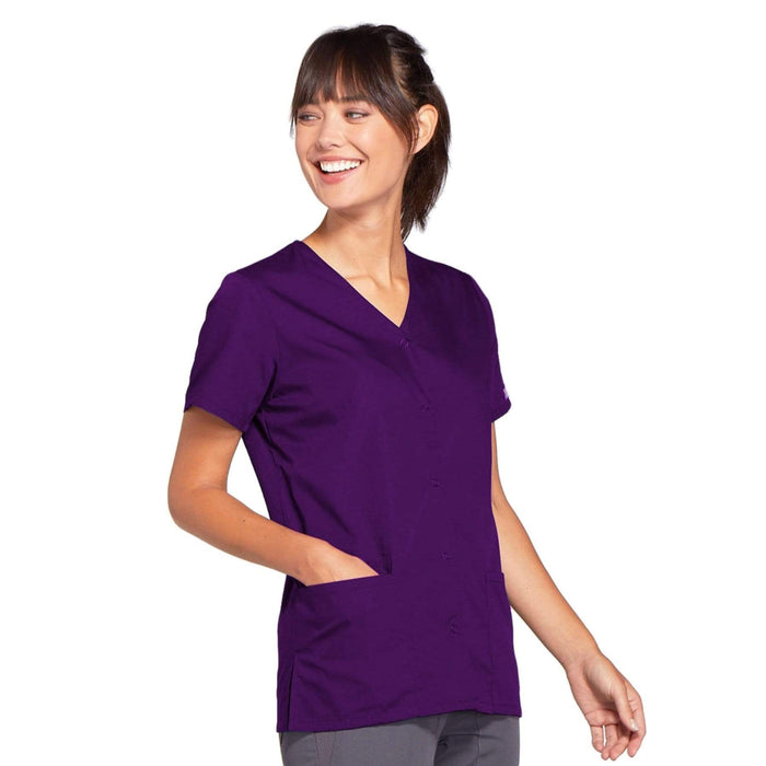 Cherokee Scrubs Top Cherokee Workwear 4770 Scrubs Top Women's Snap Front V-Neck Eggplant