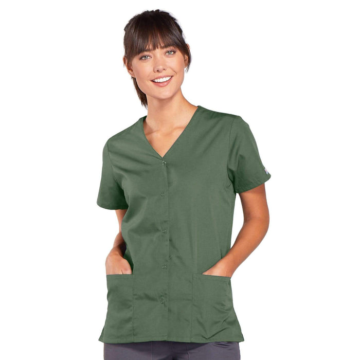 Cherokee Scrubs Top 2XL Cherokee Workwear 4770 Scrubs Top Women's Snap Front V-Neck Olive