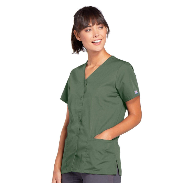 Cherokee Scrubs Top Cherokee Workwear 4770 Scrubs Top Women's Snap Front V-Neck Olive