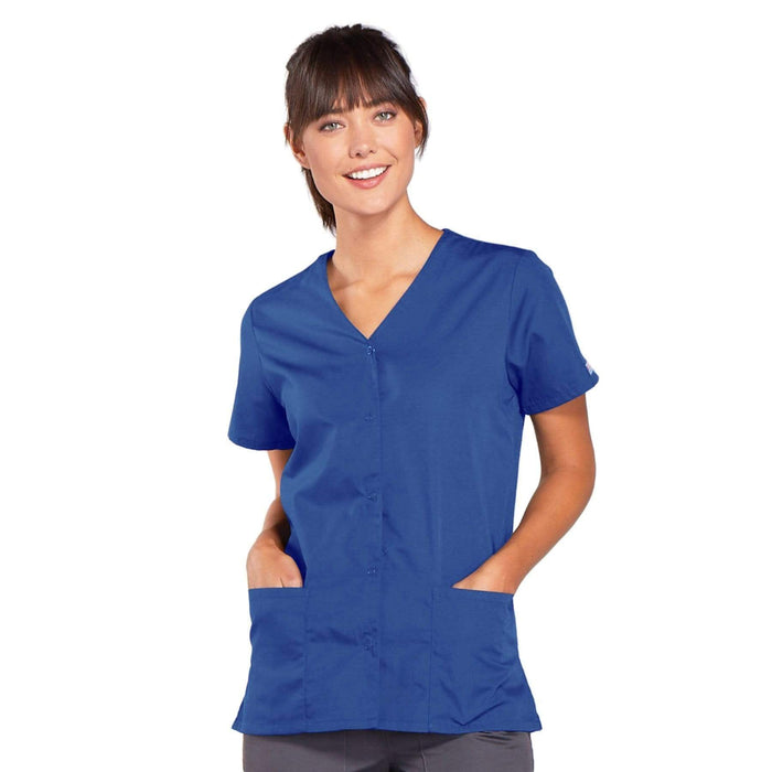 Cherokee Scrubs Top 2XL Cherokee Workwear 4770 Scrubs Top Women's Snap Front V-Neck Royal
