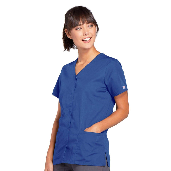 Cherokee Scrubs Top Cherokee Workwear 4770 Scrubs Top Women's Snap Front V-Neck Royal