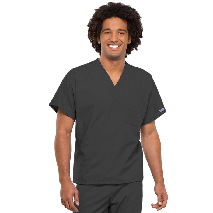 Cherokee Scrubs Top 2XL Cherokee Workwear 4777 Scrubs Top Unisex V-Neck Tunic. Pewter