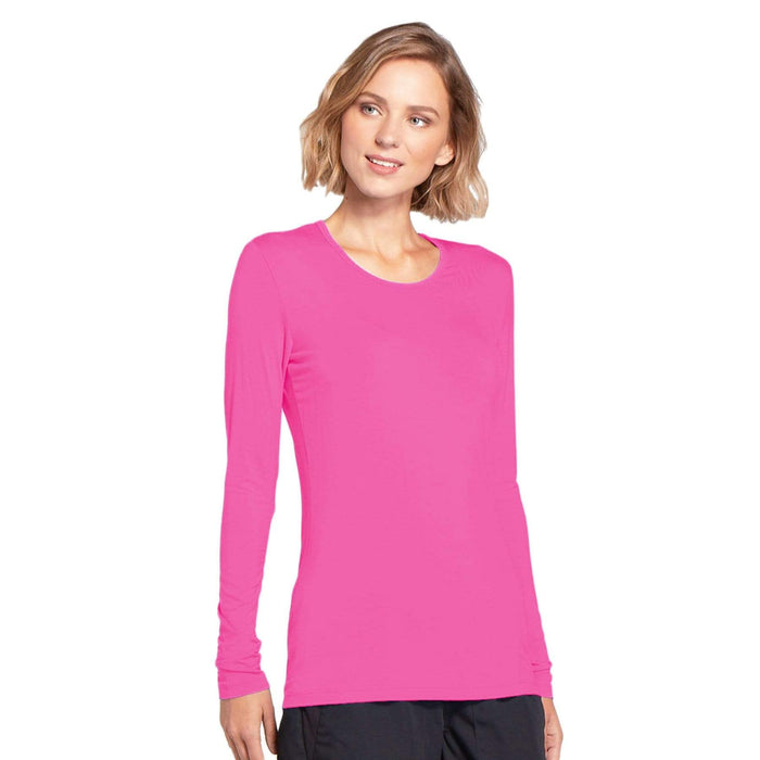 Cherokee Underscrubs Cherokee Workwear 4881 Underscrubs Women's Long Sleeve Knit Tee Shocking Pink