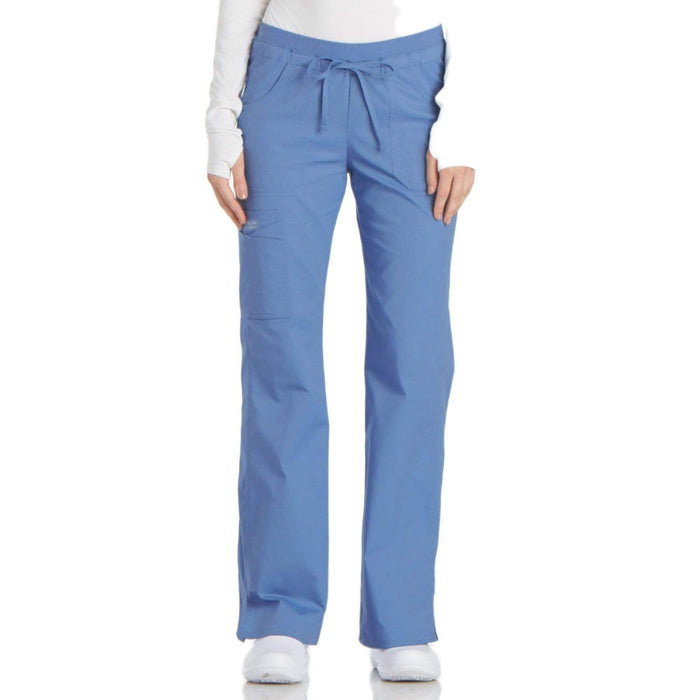 Cherokee Scrubs Pants 2XL / Regular Length Cherokee Workwear Core Stretch 24001 Scrubs Pants Women's Low Rise Drawstring Cargo Ceil Blue