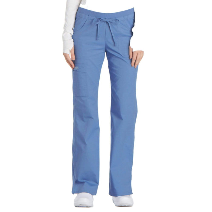 Cherokee Scrubs Pants Cherokee Workwear Core Stretch 24001 Scrubs Pants Women's Low Rise Drawstring Cargo Ceil Blue