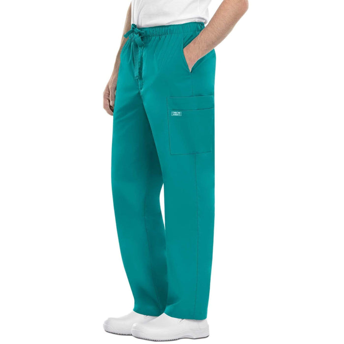 Cherokee Scrubs Pants Cherokee Workwear Core Stretch 4243 Scrubs Pants Men's Drawstring Cargo Teal Blue