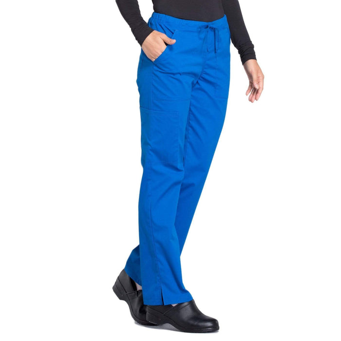 Cherokee Scrubs Pants Cherokee Workwear Professionals WW160 Scrubs Pants Women's Mid Rise Straight Leg Drawstring Royal
