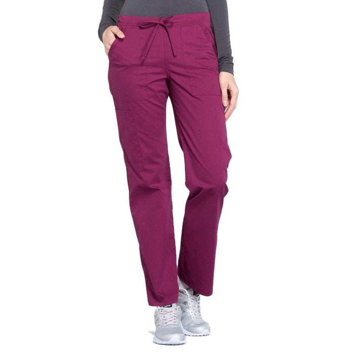 Cherokee Scrubs Pants 2XL / Regular Length Cherokee Workwear Professionals WW160 Scrubs Pants Women's Mid Rise Straight Leg Drawstring Wine