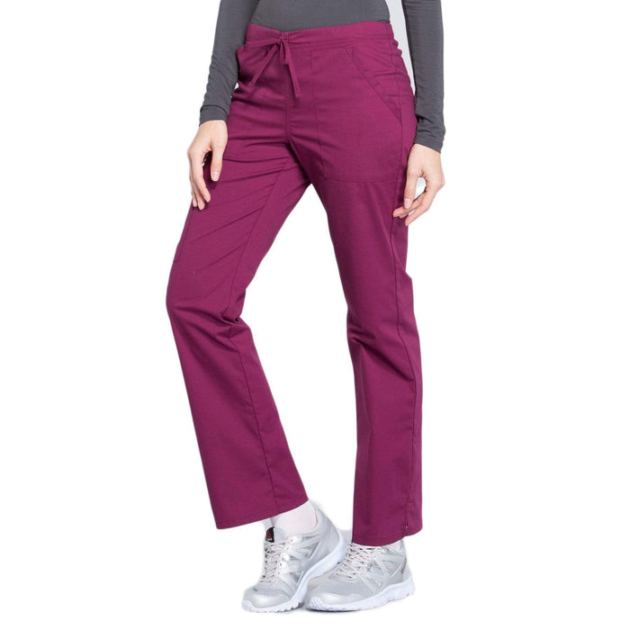 Cherokee Scrubs Pants Cherokee Workwear Professionals WW160 Scrubs Pants Women's Mid Rise Straight Leg Drawstring Wine