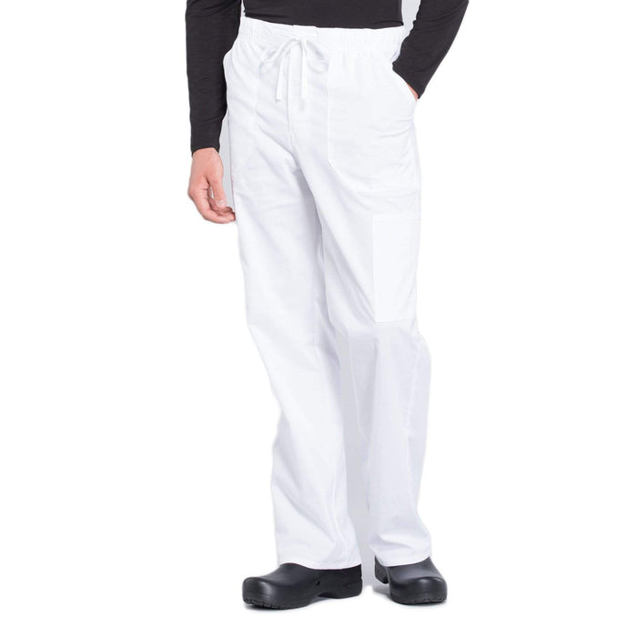 Cherokee Scrubs Pants 2XL / Regular Length Cherokee Workwear Professionals WW190 Scrubs Pants Men's Tapered Leg Drawstring Cargo White