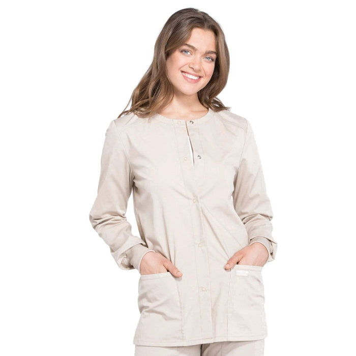 Cherokee Scrubs Jacket 2XL Cherokee Workwear Professionals WW340 Scrubs Jacket Women's Snap Front Warm-up Khaki