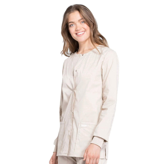 Cherokee Scrubs Jacket Cherokee Workwear Professionals WW340 Scrubs Jacket Women's Snap Front Warm-up Khaki