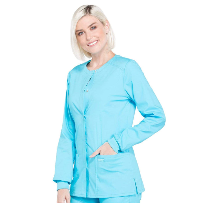 Cherokee Scrubs Jacket Cherokee Workwear Professionals WW340 Scrubs Jacket Women's Snap Front Warm-up Turquoise