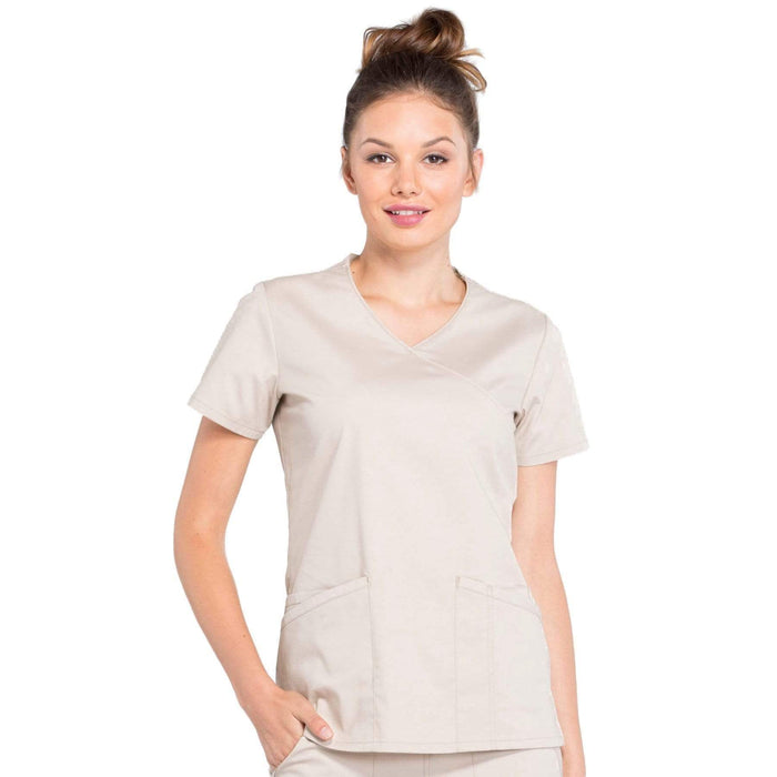 Cherokee Scrubs Top 2XL Cherokee Workwear Professionals WW655 Scrubs Top Women's Mock Wrap Khaki