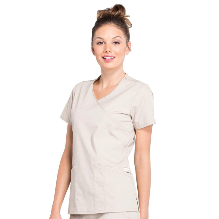 Cherokee Scrubs Top Cherokee Workwear Professionals WW655 Scrubs Top Women's Mock Wrap Khaki